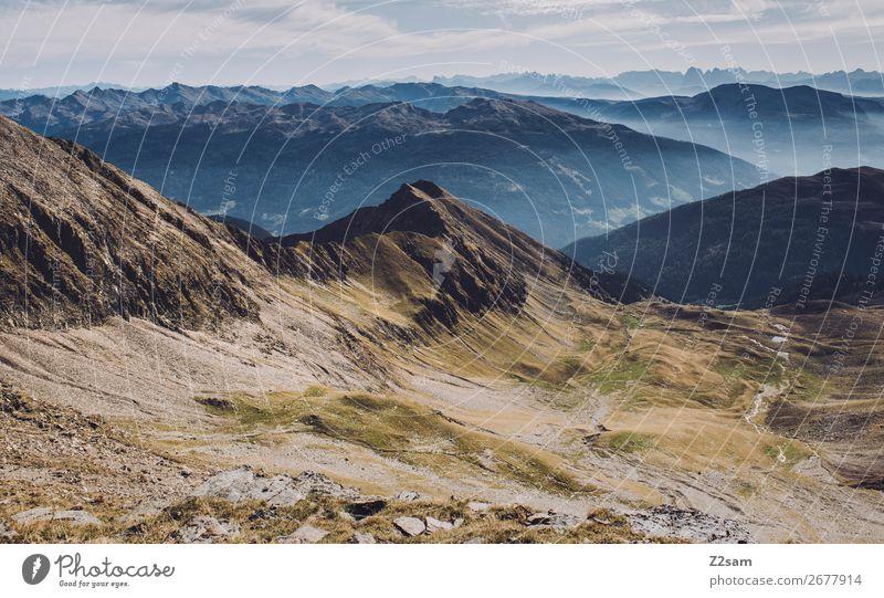 Blick vom Hirzer | Südtirol wandern Natur Landschaft Himmel Sommer Schönes Wetter Alpen Berge u. Gebirge Gipfel nachhaltig natürlich blau grün Farbe Idylle
