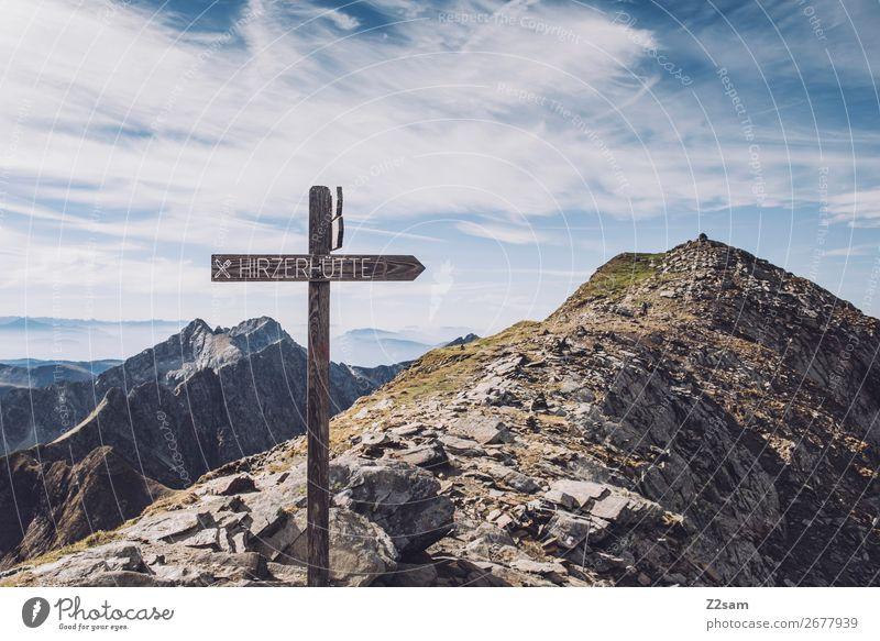 Gipfelkreuz am Hirzer wandern Klettern Bergsteigen Natur Landschaft Himmel Wolken Sommer Alpen Berge u. Gebirge natürlich blau Abenteuer Idylle nachhaltig