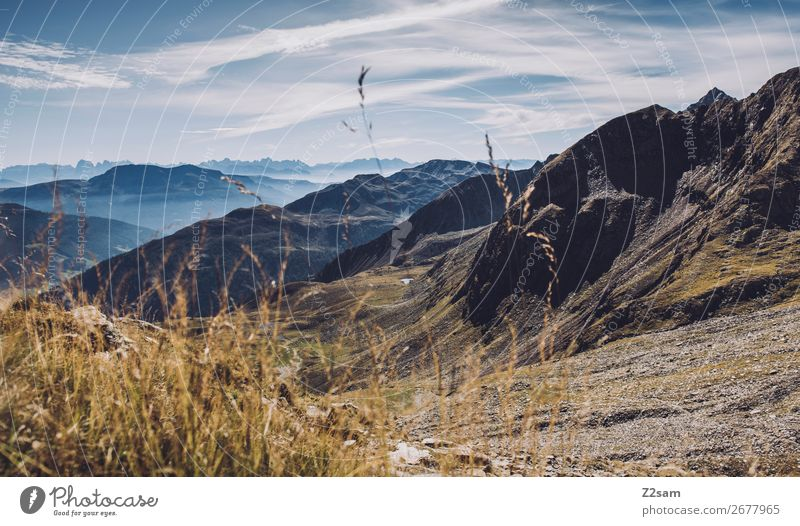 Panorama am Hirzer in Südtirol wandern Klettern Bergsteigen Natur Landschaft Himmel Wolken Schönes Wetter Gras Alpen Berge u. Gebirge Gipfel gigantisch hoch