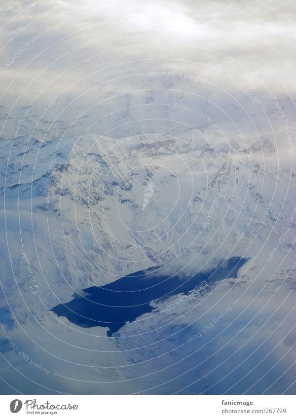 God's ink blot Winter Schnee Berge u. Gebirge Umwelt Landschaft Luft Wasser Erde Himmel Wolken Schneefall Alpen See Flugzeug im Flugzeug fliegen eckig