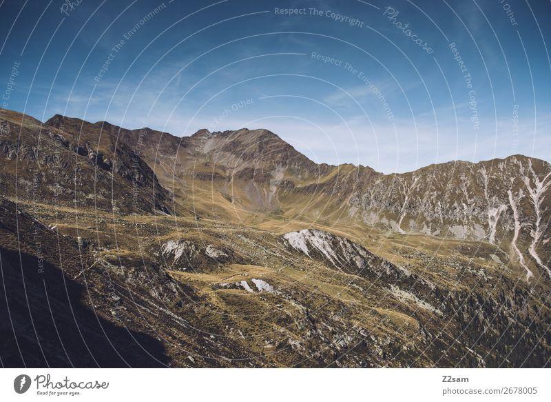 Bergpanorama vom Südtiroler Hirzer | Meran 2000 wandern Klettern Bergsteigen Umwelt Natur Landschaft Wolkenloser Himmel Sommer Schönes Wetter Alpen