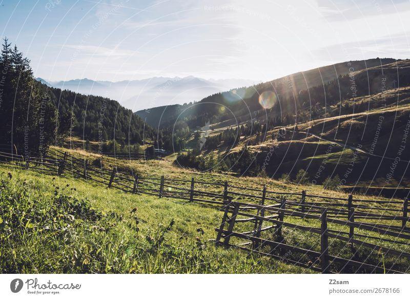 Bergpanorama in Südtirol wandern Umwelt Natur Landschaft Himmel Sonne Sommer Schönes Wetter Alpen Berge u. Gebirge Gipfel ästhetisch frisch gigantisch