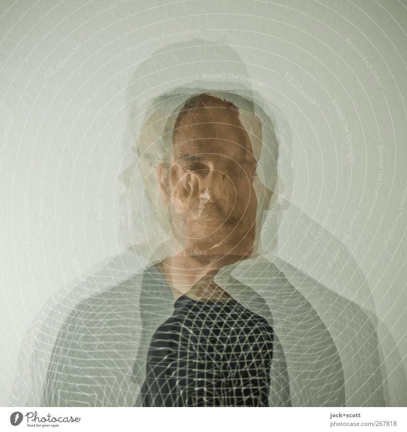 schematisch Mensch Mann Erwachsene Leben Bewegung Linie Kopf maskulin authentisch stehen ästhetisch Kreativität einzigartig T-Shirt Gelassenheit trendy