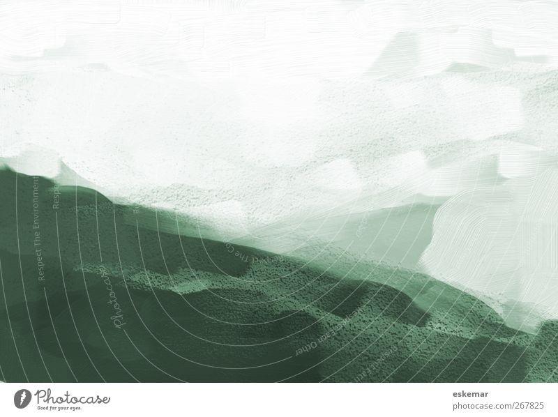 Malerei weiß grün Landschaft Kunst Hintergrundbild Design Bild Gemälde gemalt Kunstwerk Grunge