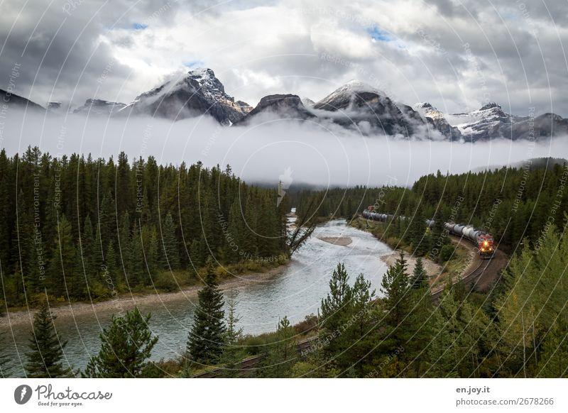unterwegs Ferien & Urlaub & Reisen Ausflug Abenteuer Ferne Natur Landschaft Himmel Wolken Klima Nebel Wald Berge u. Gebirge Rocky Mountains Fluss Bow River