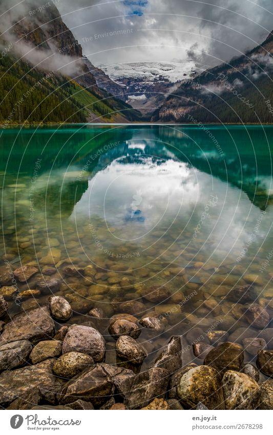 VG macht Bild gesund Ferien & Urlaub & Reisen Ausflug Ferne Berge u. Gebirge Natur Landschaft Wolken Herbst Felsen Rocky Mountains Gletscher Seeufer Lake Luise