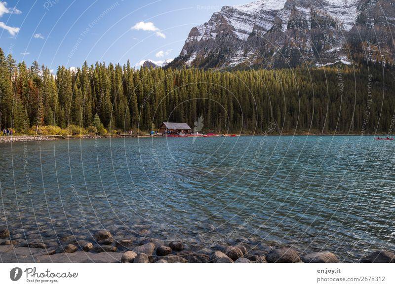 Kanuverleih Ferien & Urlaub & Reisen Tourismus Ausflug Menschenmenge Natur Landschaft Sommer Herbst Schönes Wetter Wald Felsen Berge u. Gebirge Rocky Mountains