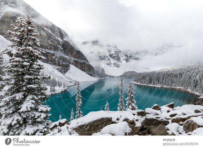 Vorhang auf Ferien & Urlaub & Reisen Natur weiß Landschaft Wolken Winter Ferne Berge u. Gebirge Schnee Tourismus See Felsen Ausflug Eis Schneebedeckte Gipfel