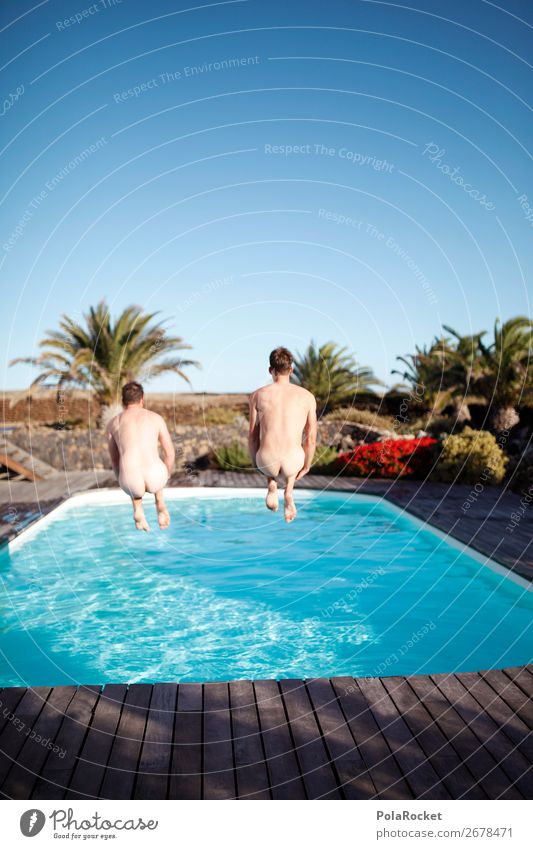 #AS# Leben In Vollen Zügen Lifestyle Mensch maskulin 2 Freude Glück Fröhlichkeit Schwimmbad Homosexualität Freundschaft verrückt Ferien & Urlaub & Reisen Gesäß