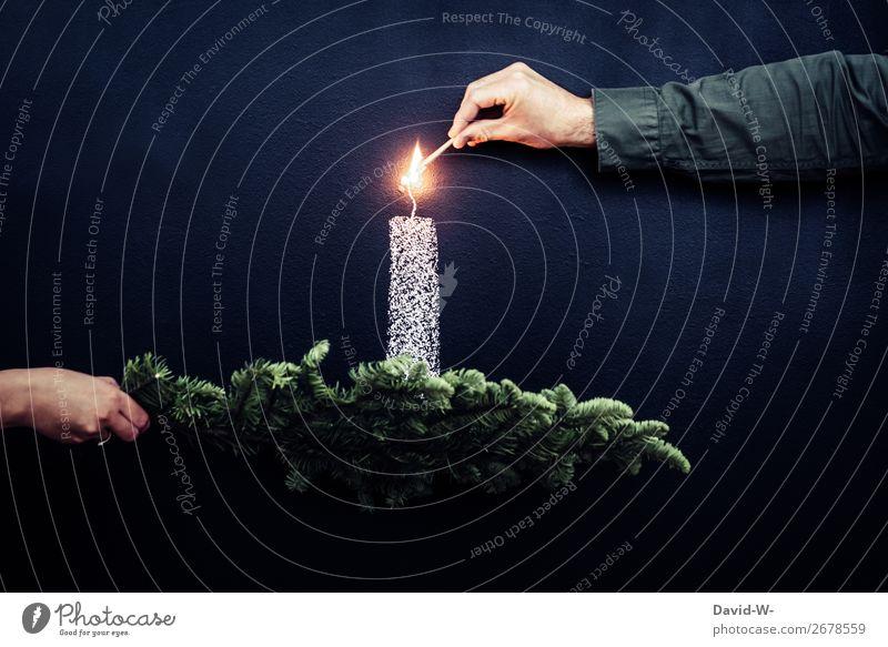 Weihnachtlich elegant Stil Feste & Feiern Weihnachten & Advent Mensch Mann Erwachsene Leben Hand Finger Kunst Kunstwerk leuchten Kerze Kerzenschein Zeichnung