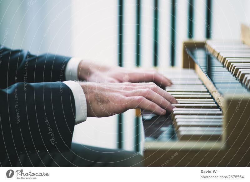 Organist Freizeit & Hobby Spielen Mensch maskulin Junger Mann Jugendliche Erwachsene Leben Hand Finger 1 Kunst Künstler Kultur Musik Musik hören Konzert