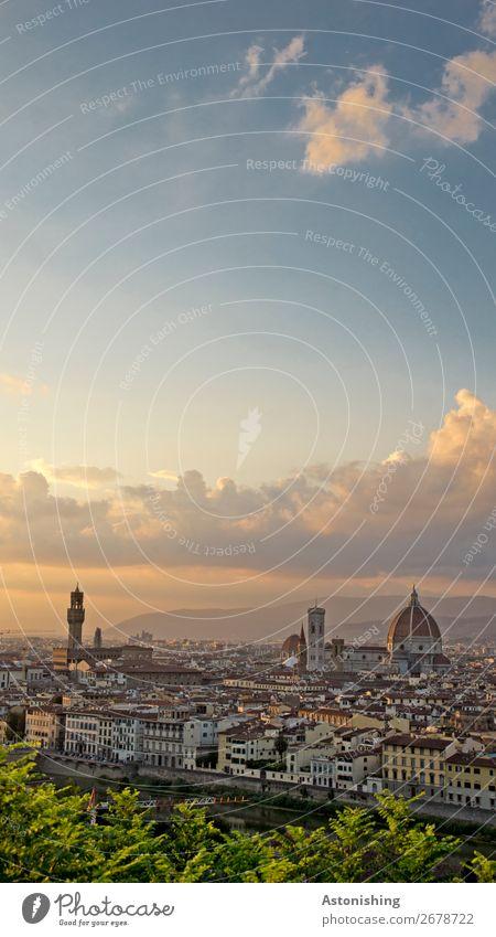 Florenz Umwelt Natur Himmel Wolken Sonnenaufgang Sonnenuntergang Sommer Wind Pflanze Blatt Fluss Italien Stadt Stadtzentrum Altstadt Haus Kirche Dom Turm