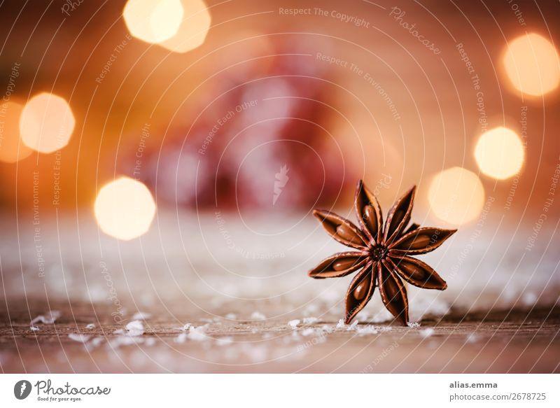 Weinachtlicher Sternanis Weihnachten & Advent Stern (Symbol) Postkarte Makroaufnahme Unschärfe rot orange Schnee Schneefall rustikal Dezember Kräuter & Gewürze