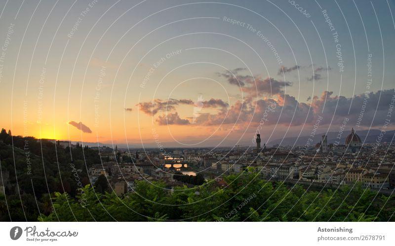 und weg... Umwelt Natur Landschaft Himmel Wolken Horizont Sonne Sonnenaufgang Sonnenuntergang Sonnenlicht Wetter Pflanze Baum Blatt Fluss Arno Florenz Italien