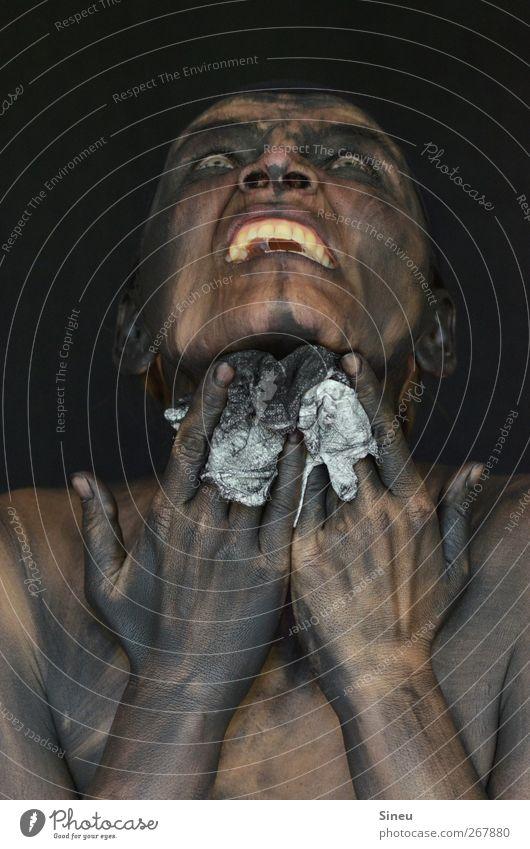 Himmelhoch jauchzend Gesicht Zähne Hand 1 Mensch Reinigen Wut Ärger Ekel Wahnsinn Ablehnung Putztuch Tuch Körpermalerei schwarz Sauberkeit Reinlichkeit hässlich