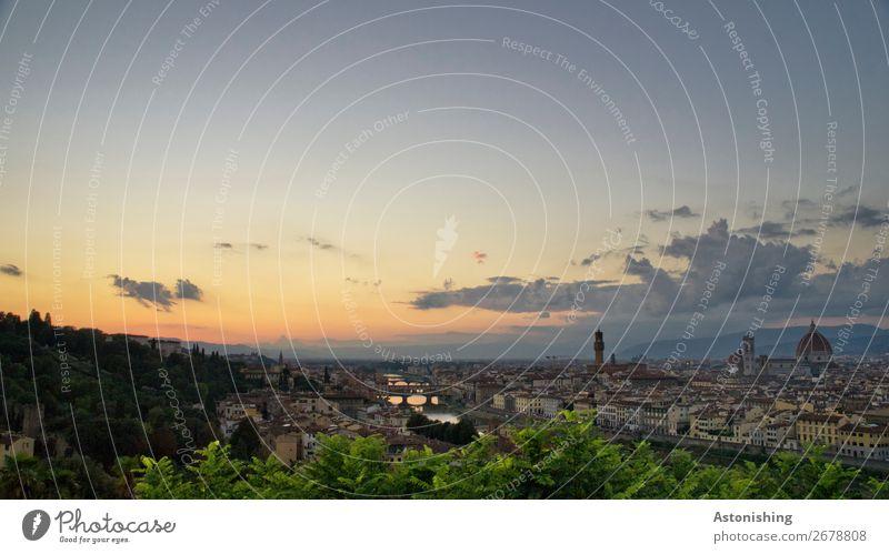 Florenz nach Sonnenuntergang Natur Landschaft Himmel Wolken Horizont Sonnenaufgang Sonnenlicht Wetter Schönes Wetter Pflanze Baum Blatt Fluss Arno Italien Stadt