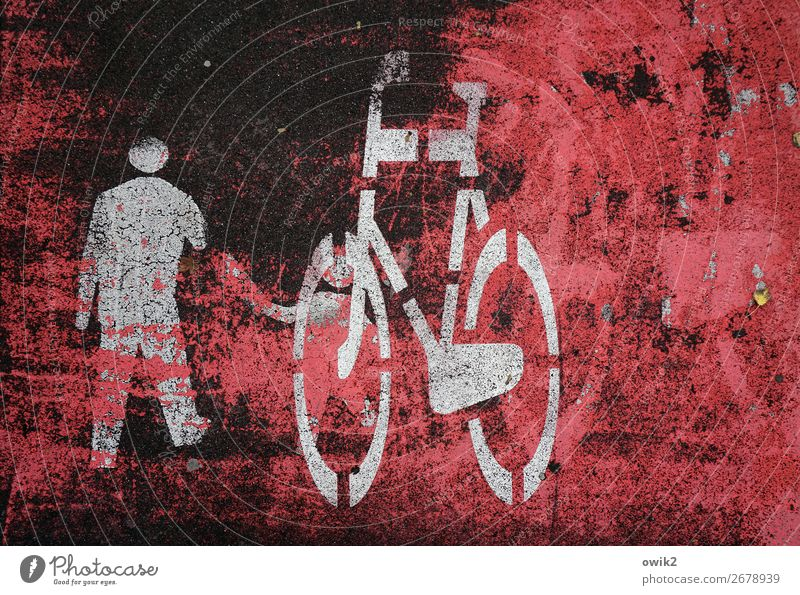 Platz da 2 Mensch Polen Verkehrswege Fahrradfahren Fahrradweg Zeichen Schilder & Markierungen Piktogramm Vater mit Kind alt trashig unten grau rot schwarz