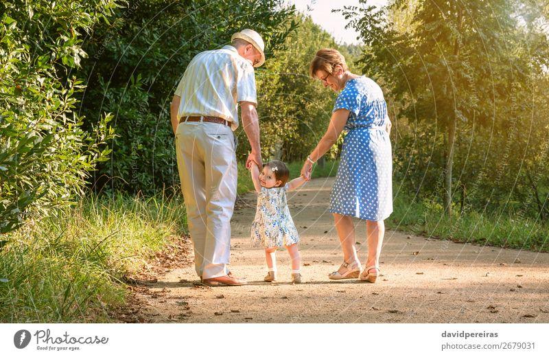 Großeltern und Baby-Enkel laufen auf Naturpfad Lifestyle Glück Sommer Kind Mensch Frau Erwachsene Mann Großvater Großmutter Familie & Verwandtschaft Park Hut