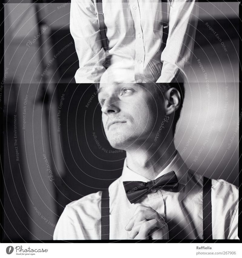 Sehnsucht Mensch Jugendliche Hand Gesicht Erwachsene Kopf träumen blond maskulin 18-30 Jahre Junger Mann Sehnsucht dünn Hemd Doppelbelichtung Krawatte