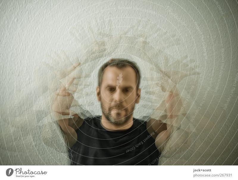 ADHS Porträt Mensch maskulin Mann Erwachsene Kopf Arme 1 30-45 Jahre T-Shirt brünett kurzhaarig Vollbart Bewegung Blick lustig verrückt Platzangst Nervosität