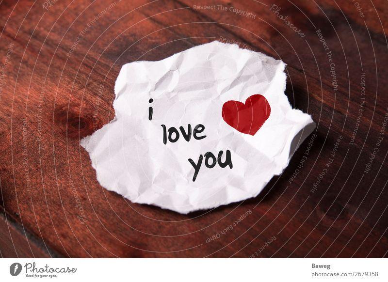 """Notiz """"i love you"""" auf weißem Papierschnipsel Freude Familie & Verwandtschaft Freundschaft Paar Zettel Holz Zeichen Schriftzeichen Herz Liebe Liebespaar"""