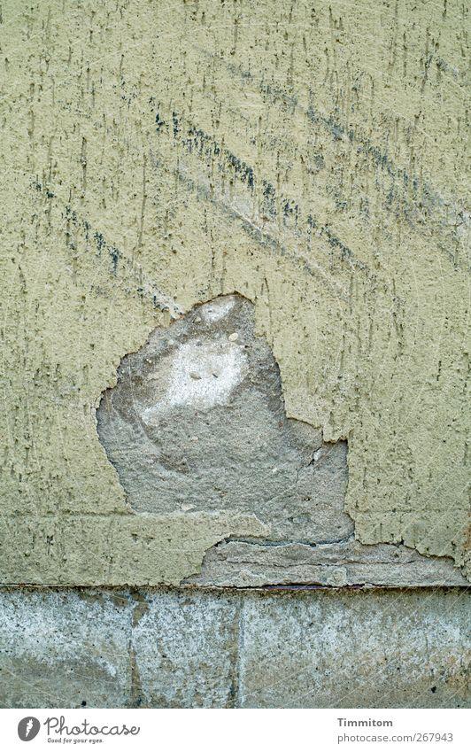 Karl ist irritiert. Heidelberg Haus Mauer Wand Zeichen ästhetisch Coolness Stadt grau weiß verstört abgeplatzt Linie Zerfall Phantasie Farbfoto Gedeckte Farben