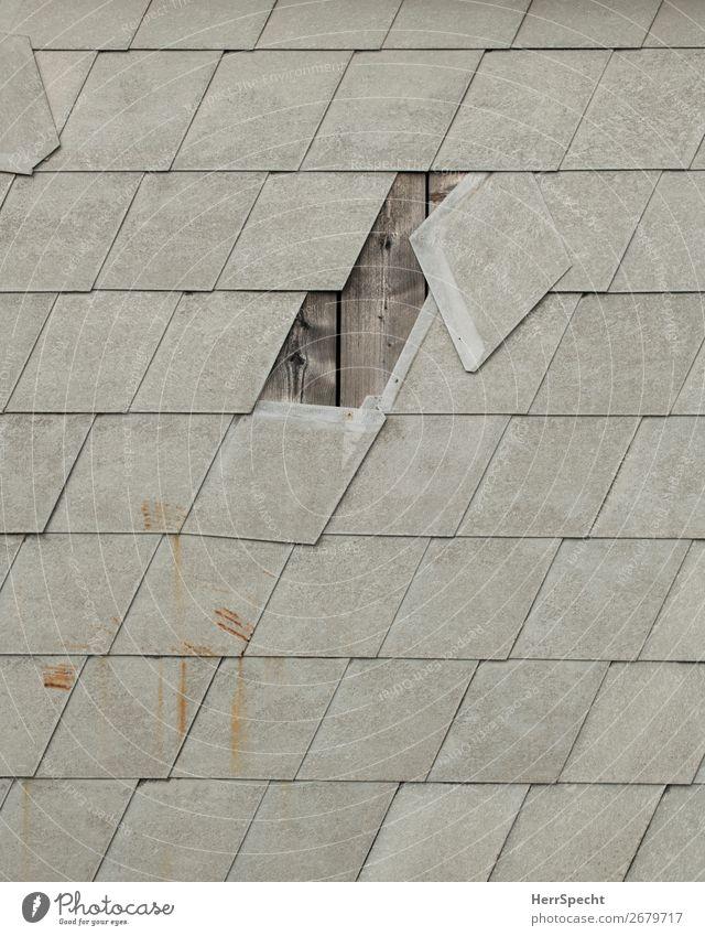 Leerstelle Dorf Haus Bauwerk Gebäude Mauer Wand Beton Holz alt kaputt trashig trist grau Eternit Schaden leer Loch Wandverkleidung Farbfoto Gedeckte Farben