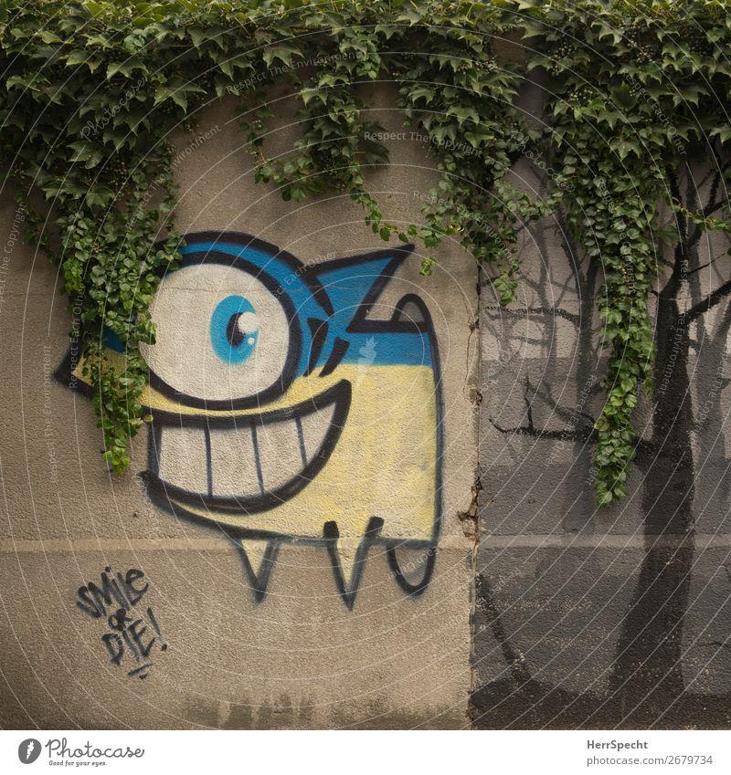 smile or die! Pflanze Stadt Graffiti Wand lustig Mauer Tod Schriftzeichen Lächeln einzigartig Fisch Gebiss Entscheidung Grünpflanze Haifisch Wilder Wein