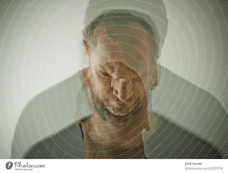 Portrait Stereotyp maskulin Mann Erwachsene Gesicht 1 Mensch 30-45 Jahre brünett kurzhaarig Vollbart Bewegung verrückt trashig Gefühle Menschlichkeit Erfahrung