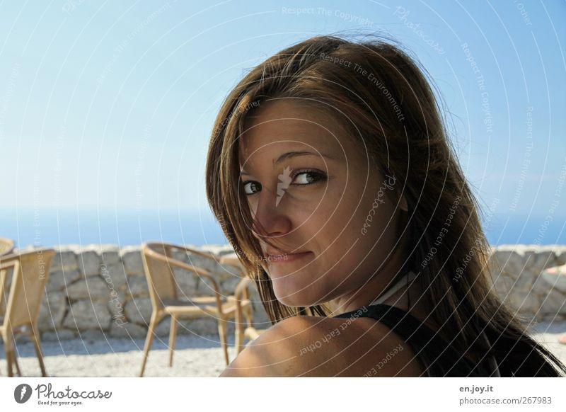 Ich? Mensch Jugendliche blau Ferien & Urlaub & Reisen schön Sommer Meer Freude feminin Kopf Junge Frau braun Tourismus Ausflug Fröhlichkeit 13-18 Jahre