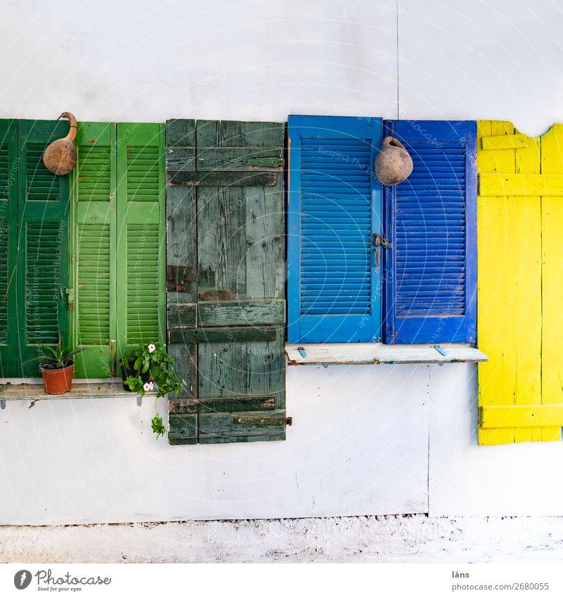 Fensterläden Bunt Schutz Haus sichtschutz Menschenleer Kreta