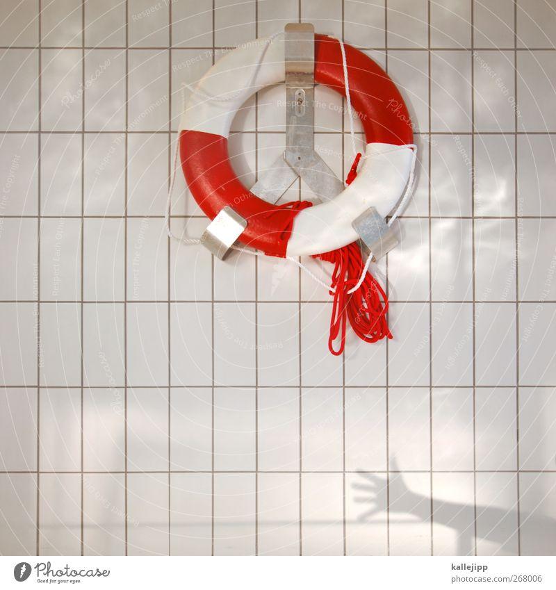 frauen und kinder zuerst Hilfsbereitschaft Sicherheit Schwimmbad Fliesen u. Kacheln Rettung Schwimmhilfe Objektfotografie Rettungsring bereit Schwimmhalle Rettungsgeräte Vor hellem Hintergrund
