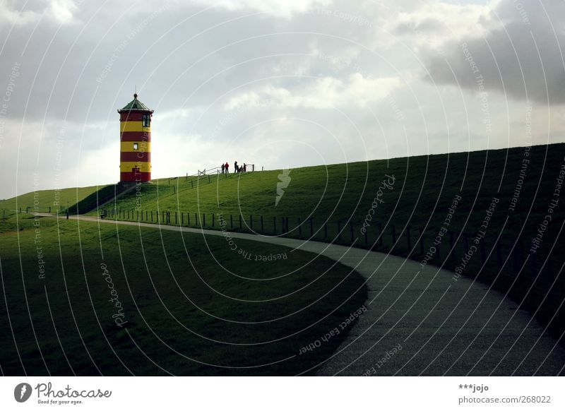 der ausserfriesische. Wahrzeichen leuchten Ostfriesland Deich Damm Leuchtturm Wege & Pfade Turm Pilsum Niedersachsen Küste Himmel Meer Otto Wiese Landschaft