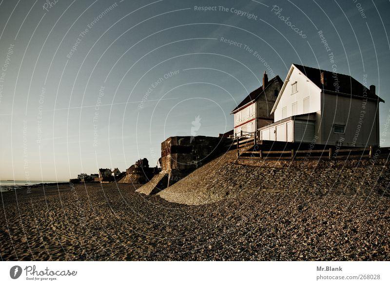 sonnenuntergang blau Ferien & Urlaub & Reisen Meer Strand Haus Ferne Erholung Stimmung braun Tourismus Europa Dorf Frankreich