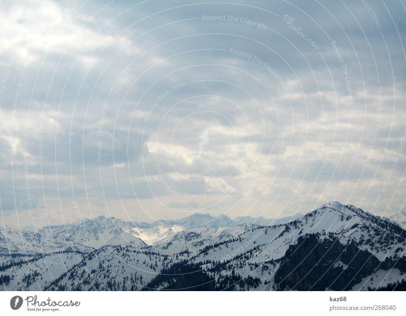 Bergpanorama Himmel Natur Ferien & Urlaub & Reisen Sonne Winter Wolken Ferne Umwelt Landschaft kalt Schnee Berge u. Gebirge Freiheit Freizeit & Hobby wandern