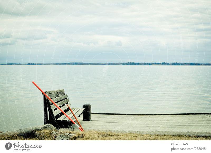 Haus am See Himmel blau Meer Wolken ruhig Ferne Küste Freiheit Wellen Schilder & Markierungen Insel Ausflug Abenteuer Bank Hafen Seeufer