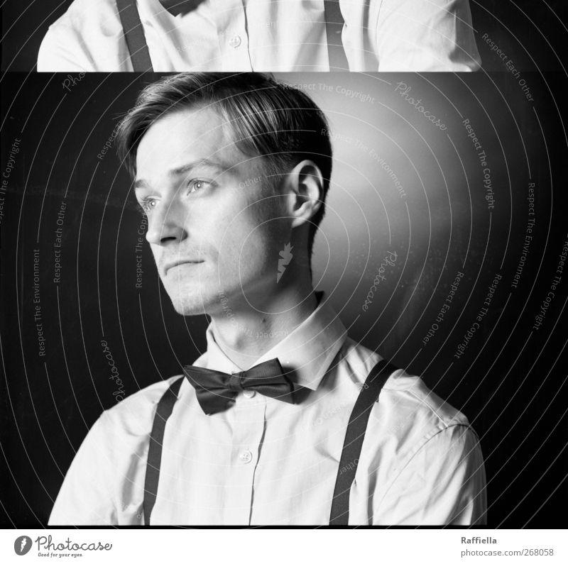 Distanz maskulin Junger Mann Jugendliche Kopf Haare & Frisuren Gesicht 1 Mensch 18-30 Jahre Erwachsene Hemd Fliege Hosenträger blond kurzhaarig Scheitel