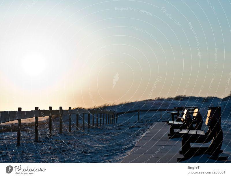 sonnenbank Ferien & Urlaub & Reisen Ausflug Sonne Sonnenbad Strand Umwelt Natur Landschaft Pflanze Sand Himmel Wolkenloser Himmel Frühling Schönes Wetter Küste