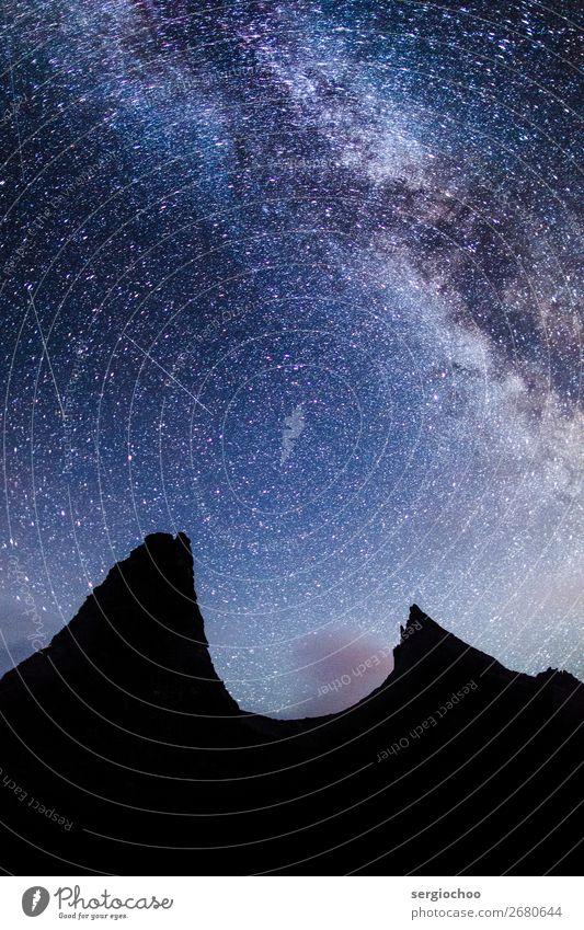Batman in der Nacht wandern Natur Landschaft Himmel Nachthimmel Stern Hügel Felsen Berge u. Gebirge Gipfel genießen schlafen leuchten natürlich Sauberkeit