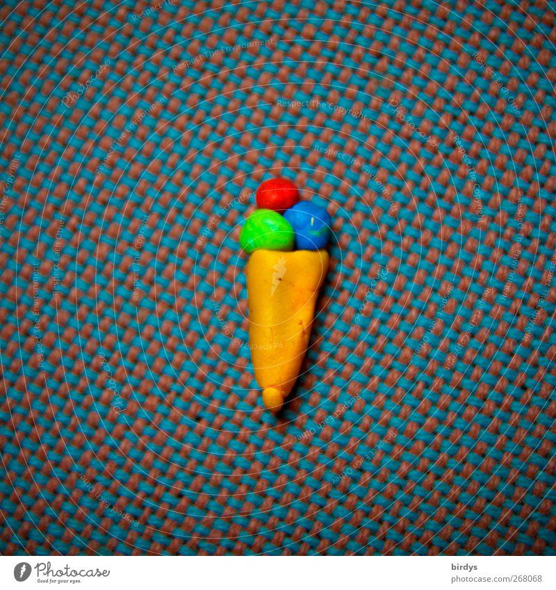 3 Kugeln in der Waffel bitte Speiseeis leuchten lecker süß mehrfarbig genießen Lebensfreude Leidenschaft Eiswaffel Eis in der Waffel Eiskugel Knetmasse 1
