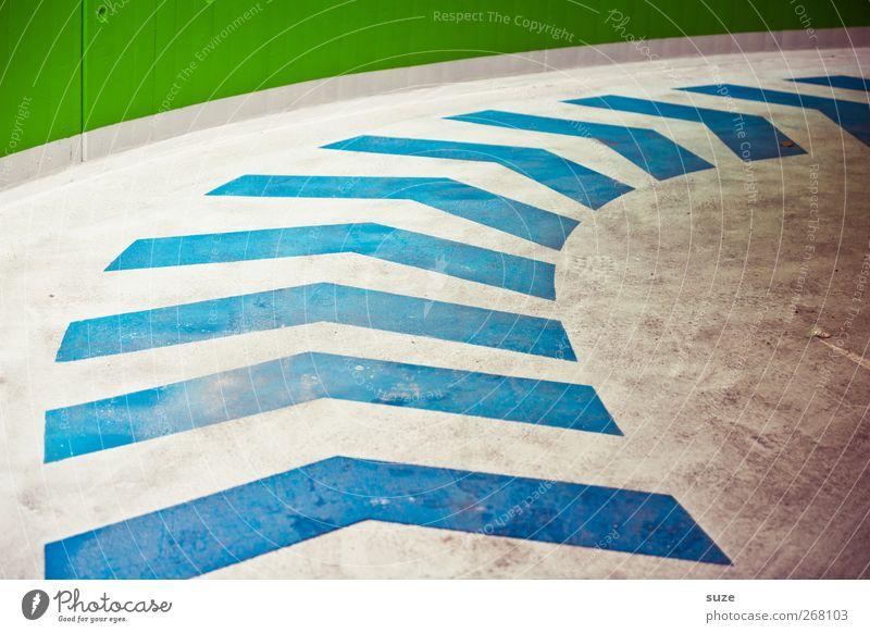 All right Parkhaus Verkehr Verkehrswege Wege & Pfade Schilder & Markierungen Pfeil Streifen dreckig einfach blau grün weiß Ziel graphisch Richtung Kurve Bogen