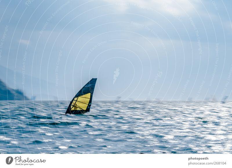 Windsurfer in Torbole, Gardasee 03 Natur blau Wasser Sport Berge u. Gebirge Bewegung Horizont braun Wellen Geschwindigkeit Alpen Seeufer sportlich Dynamik Dunst Sportler