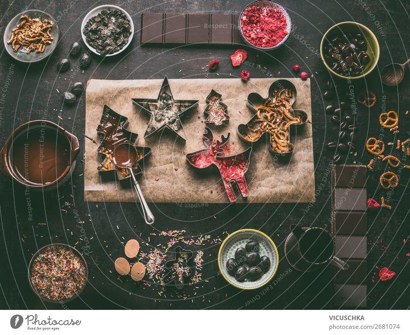 Hausgemachte Schokolade für Weihnachten Lebensmittel Süßwaren Ernährung Festessen Geschirr kaufen Stil Design Winter Häusliches Leben Dekoration & Verzierung