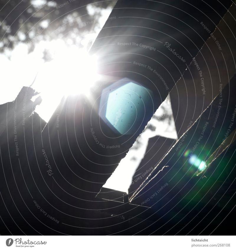 lumière Natur Sonne Schönes Wetter dunkel schwarz weiß Blendenfleck Holzbrett Holzplatte Holzhütte leuchten Ecke Strukturen & Formen abstrakt Neigung