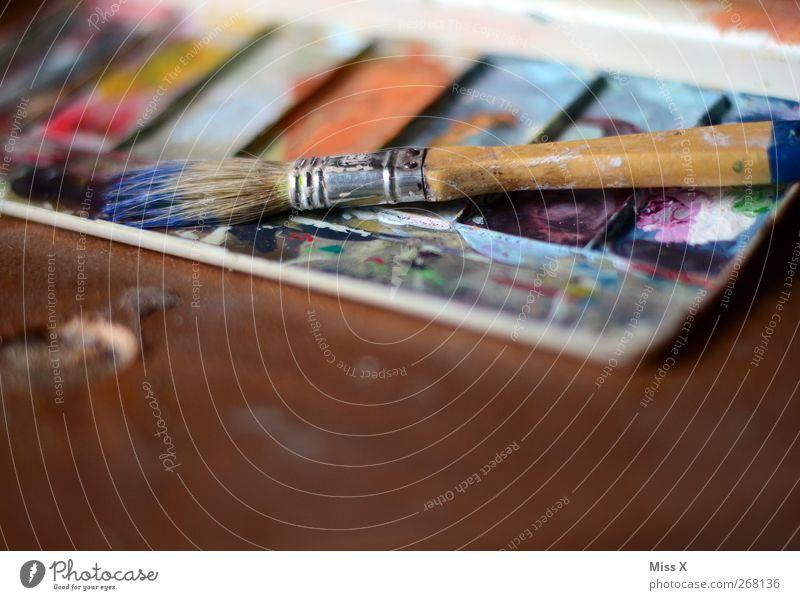 Werkzeug meiner Leidenschaft Freizeit & Hobby Kunst dreckig mehrfarbig Farbe Kreativität Pinsel Farbkasten Farbstoff malen gebraucht Innenaufnahme Nahaufnahme