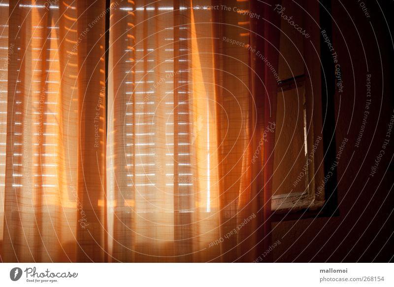 Schlafzimmerblick II ruhig Erholung Fenster dunkel träumen braun orange Wohnung Zufriedenheit schlafen Häusliches Leben Warmherzigkeit Schutz geheimnisvoll