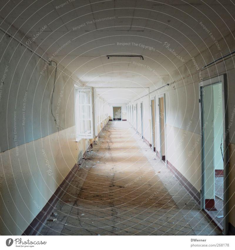 Tunnelblick kalt Wand Architektur Mauer Gebäude Tür Wohnung dreckig Häusliches Leben leuchten Baustelle Vergänglichkeit Fabrik Unendlichkeit Bauwerk lang