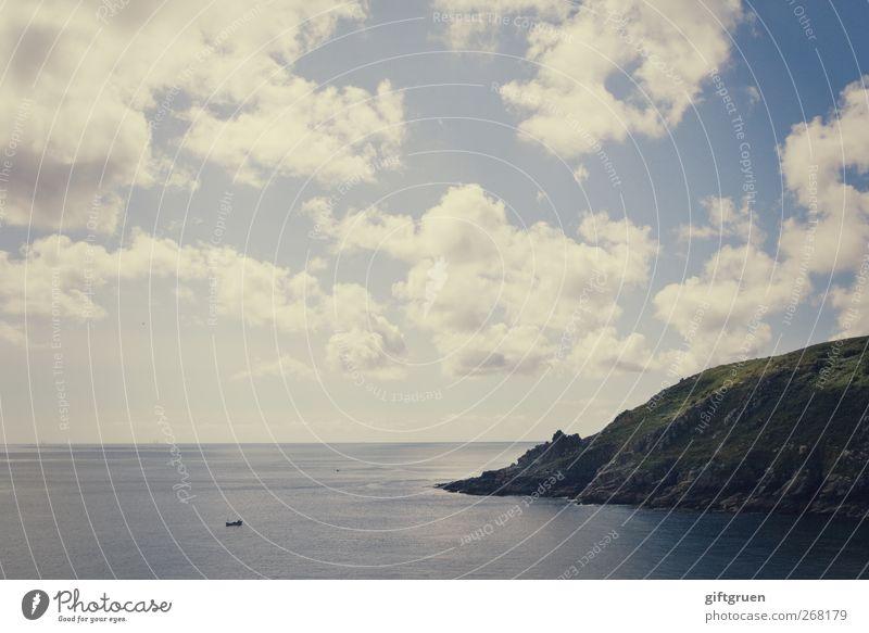 meilenweit Umwelt Natur Landschaft Urelemente Erde Wasser Himmel Wolken Horizont Sonnenlicht Frühling Sommer Wetter Schönes Wetter Hügel Felsen Berge u. Gebirge