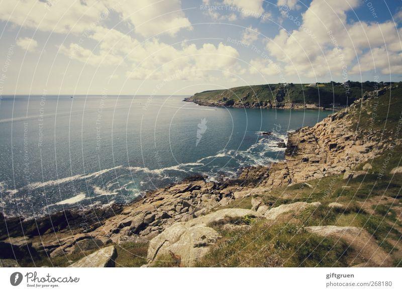 landscapes Umwelt Natur Landschaft Urelemente Erde Wasser Himmel Wolken Horizont Sonne Sommer Wetter Schönes Wetter Hügel Felsen Wellen Küste Strand Bucht Meer
