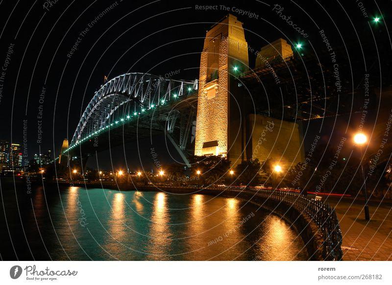 Harbour Bridge Ferien & Urlaub & Reisen Tourismus Australien Stadt Skyline Hafen Brücke Wasser Sydney Ikon Wahrzeichen farbenfroh Abenddämmerung Anlegestelle